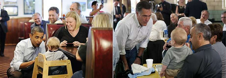 This combination of file pictures shows US President Barack Obama (L) chating with a child as he visits the Countryside barbecue restaurant lunch in Marion, North Carolina, on October 17, 2011, and US Republican presidential candidate Mitt Romney (R) talking with supporters during a campaign stop at Tom's Ice Cream Bowl in Zanesville, Ohio, on August 14, 2012. AFP Photo/ Jewel SAMAD / Saul LOEB-/AFP/GettyImages Photo: -, AFP/Getty Images