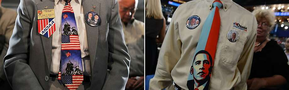 "This combination of file pictures shows (L) veterans at the American Legion Post 176 praying before US Republican presidential candidate Mitt Romney speaks at ""Veterans for Romney"" campaign event in Springfield, Virginia, on September 27, 2012, and (R) a man wearing an Obama tie at the Time Warner Cable Arena in Charlotte, North Carolina, on September 5, 2012 on the second day of the Democratic National Convention (DNC). AFP PHOTO/ Jewel SAMAD / Robyn BECK-/AFP/GettyImages Photo: -, AFP/Getty Images"