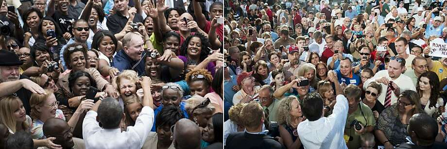 This combination of file pictures shows US President Barack Obama (L) greeting supporters after speaking at a campaign event at Eden Park September 17, 2012 in Cincinnati, Ohio, and US Republican presidential candidate Mitt Romney (R) greeting supporters during a campaign event at the Ross County Court House in Chillicothe, Ohio, August 14, 2012. AFP PHOTO/Brendan SMIALOWSKI / Saul LOEB-/AFP/GettyImages Photo: -, AFP/Getty Images