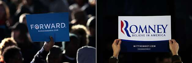 This combination of file pictures shows (L) supporters waiting for U.S. President Barack Obama to arrive at a campaign rally on September 22, 2012 in Milwaukee, Wisconsin, and (R) a Republican presidential hopeful Mitt Romney supporter holding a sign during a campaign rally at Saw Mill restaurant in Greenville, South Carolina, January 20, 2012. AFP PHOTO/ Scott Olson/Getty Images/AFP - Emmanuel Dunand/AFP-/AFP/GettyImages Photo: -, AFP/Getty Images