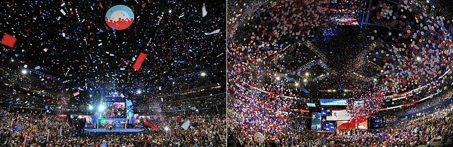 This combination of file pictures shows (L) supporters cheering US President Barack Obama after he accepted the Democratic National Convention's nomination to run for a second term as president at the Time Warner Cable Arena in Charlotte, North Carolina, on September 6, 2012 on the final day of the DNC, and (R) Republican presidential candidate Mitt Romney and vice presidential nominee Paul Ryan welcoming their families onto the stage following Romney's acceptance speech at the Tampa Bay Times Forum in Tampa, Florida, on August 30, 2012 on the final day of the Republican National Convention (RNC). AFP PHOTO Stan HONDASTAN HONDA/AFP/GettyImages Photo: Stan Honda, AFP/Getty Images