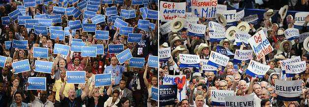 "This combination of file pictures shows (L) supporters waving banners reading ""Forward"" as US President Barack Obama states his acceptance to run for a second term as president at the Time Warner Cable Arena in Charlotte, North Carolina, on September 6, 2012 on the final day of the Democratic National Convention (DNC), and (R) delegates waving banners during the Republican presidential candidate Mitt Romney's acceptance speech at the Tampa Bay Times Forum in Tampa, Florida, on August 30, 2012 on the final day of the Republican National Convention (RNC). Photo: -, AFP/Getty Images"