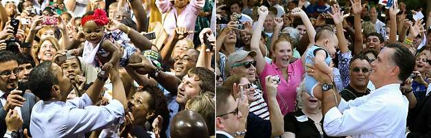 This combination of file pictures shows US President Barack Obama (L) pulling a baby out of the crowd as he works the ropeline after delivering remarks during a campaign event at rollins College in Orlando, FL, August 2, 2012, and US Republican presidential candidate Mitt Romney (R) lifting up a baby during a campaign rally at Flagler College on August 13, 2012 in St Augustine, Florida. AFP PHOTO/ Jim WATSON/AFP - Justin Sullivan/Getty Images/AFP-/AFP/GettyImages Photo: -, AFP/Getty Images