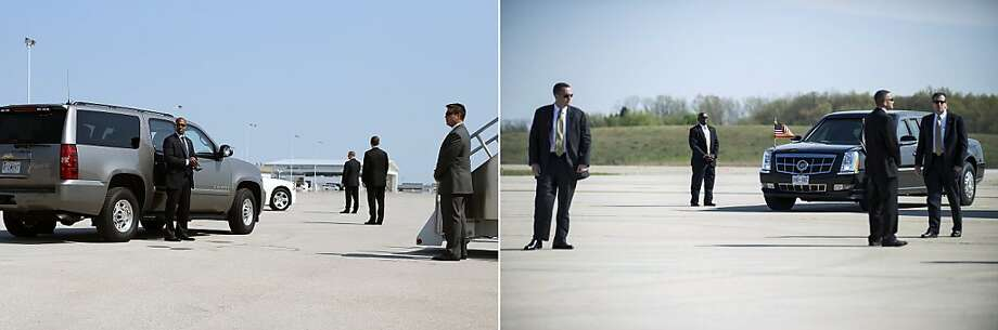 This combination of file pictures shows (L) US Secret Service agents standing guard in front of a vehicle carrying US Republican presidential candidate Mitt Romney before boarding his campaign plane on August 29, 2012 in Indianapolis, Indiana, and (R) members of the Secret Service awaiting the arrival of US President Barack Obama at Detroit Metro Wayne County Airport April 18, 2012 in Detroit, Michigan. AFP PHOTO/ Justin Sullivan/Getty Images/AFP - Brendan SMIALOWSKI/AFP-/AFP/GettyImages Photo: -, AFP/Getty Images