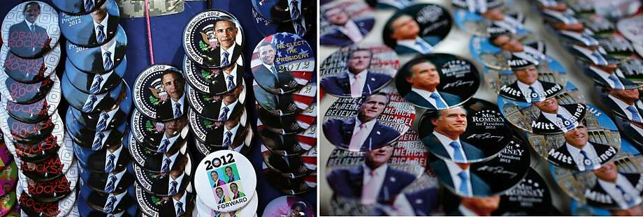 This combination of file pictures shows (L) campaign buttons outside an Obama campaign event on August 29, 2012 in Charlottesville, Virginia, and (R) campaign buttons with images of US Republican presidential candidate Mitt Romney sold before the start of a campaign event December 28, 2011 in Clinton, Iowa. AFP PHOTO  Alex Wong/Getty Images/AFP - Chip Somodevilla/Getty Images/AFP-/AFP/GettyImages Photo: -, AFP/Getty Images