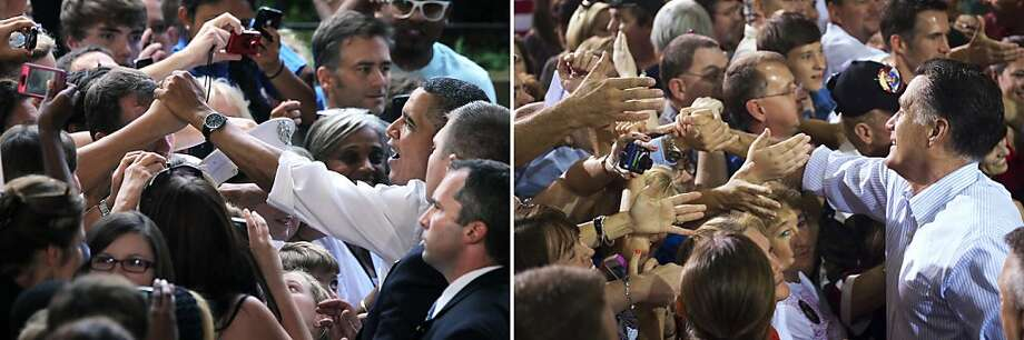 This combination of file pictures shows U.S. President Barack Obama (L) greeting supporters during a campaign stop at the Charlottesville Telos Wireless Pavilion August 29, 2012 in Charlottesville, Virginia, and US Republican presidential candidate Mitt Romney (R) greeting supporters during a campaign rally at the NASCAR Technical Institute in Mooresville, North Carolina, August 12, 2012. AFP PHOTO / Alex Wong/Getty Images/AFP - Saul LOEB/AFP-/AFP/GettyImages Photo: -, AFP/Getty Images