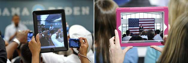 This combination of file pictures shows (L) a supporter using an iPad to photograph US President Barack Obama as he speaks in an overflow room during a campaign event July 13, 2012 at Phoebus High School in Hampton, Virginia, and (R) a supporter recording Republican presidential candidate Mitt Romney on an iPad as he speaks during a campaign stop on April 18, 2012 in Charlotte, North Carolina. Photo: -, AFP/Getty Images