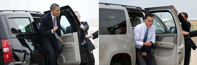 This combination of file pictures shows US President Barack Obama (L) arriving at Andrews Air Force Base to board Air Force One on March 16, 2012 in Maryland, and US Republican presidential candidate Mitt Romney (R) arriving to board his campaign plane at Lea County Regional Airport in Hobbs, New Mexico, on August 23, 2012. AFP PHOTO/Brendan SMIALOWSKI /Jewel Samad-/AFP/GettyImages Photo: -, AFP/Getty Images