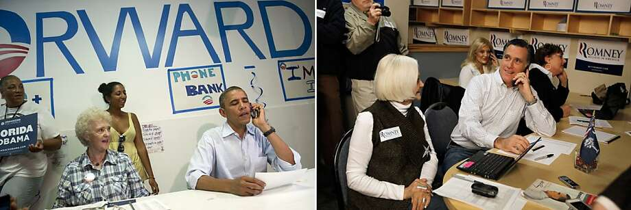 This combination of file pictures shows US President Barack Obama (L) making a phone call to a supporter during a visit to the Obama for American campaign field office in Port St. Lucie, Florida, on September 9, 2012, and Republican presidential candidate Mitt Romney (R) making phone calls asking for votes as he visits a Romney for President Greenville Headquarters on January 21, 2012 in Greenville, South Carolina. AFP PHOTO / Saul LOEB/AFP - Joe Raedle/Getty Images/AFP-/AFP/GettyImages Photo: -, AFP/Getty Images