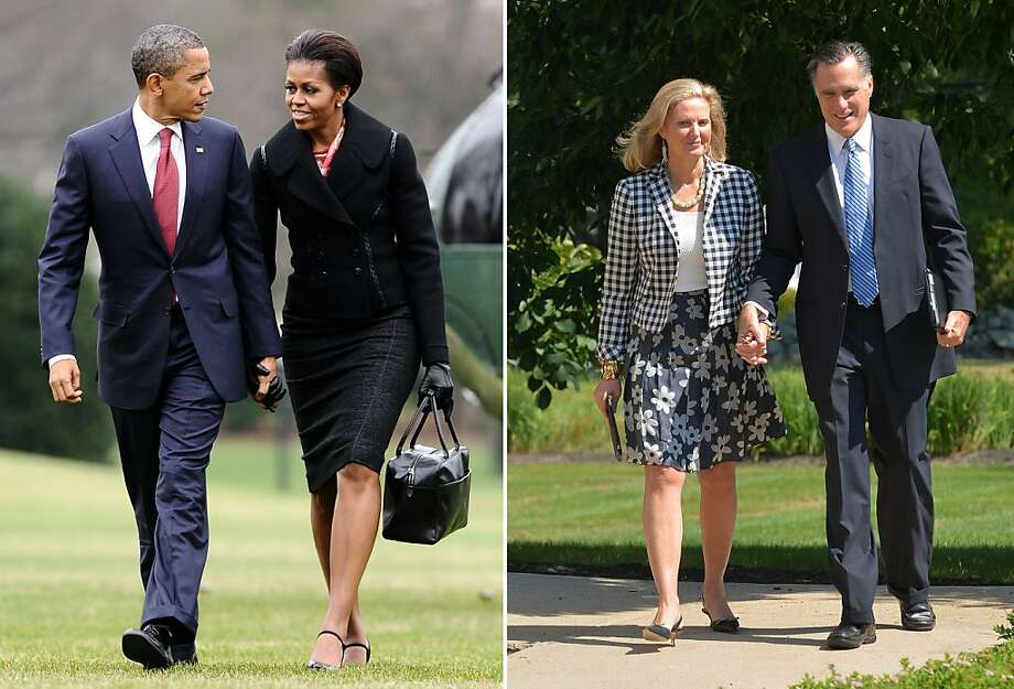 This combination of files pictures shows (L) US President Barack Obama and First Lady Michelle Obama chating as they walk to the White House in Washington, DC, on December 14, 2011, and (R) US Republican presidential candidate Mitt Romney and his wife Ann leaving the Church of Jesus Christ of Latter-Day Saints in Wolfeboro, New Hampshire, after Sunday services on August 26, 2012. AFP PHOTO/Jewel Samad-/AFP/GettyImages Photo: -, AFP/Getty Images