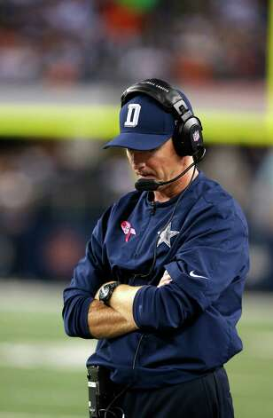 Dallas Cowboys head coach Jason Garrett during the second half of an NFL football game against the Chicago Bears, Monday, Oct. 1, 2012 in Arlington, Texas. (AP Photo/Sharon Ellman) Photo: Sharon Ellman, Associated Press / FR170032 AP