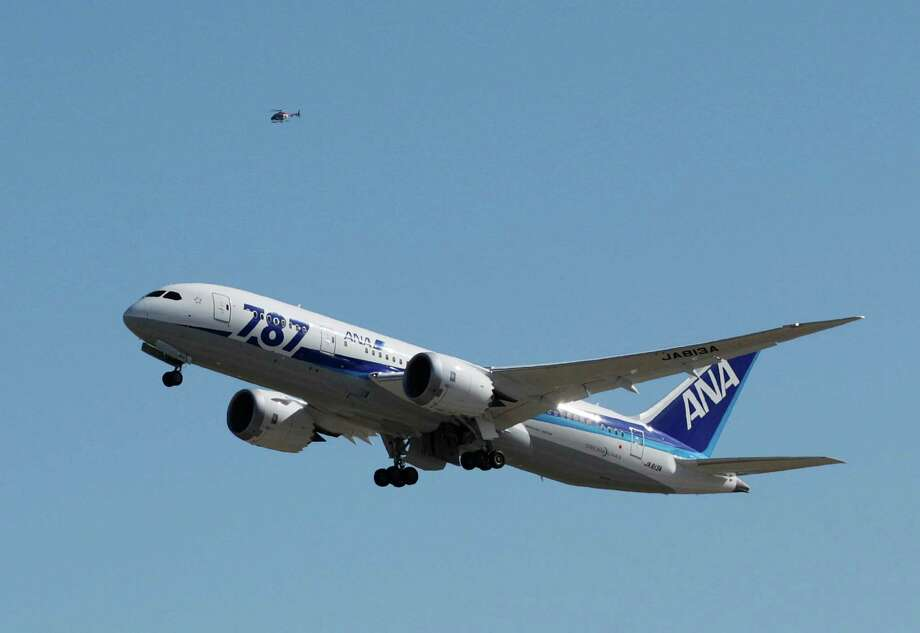 The first scheduled Boeing 787 airplane to depart from Seattle-Tacoma International Airport takes off  Tuesday, Oct. 2, 2012 in Seattle. The plane, operated by All Nippon Airways, will serve ANA's Seattle-Tokyo route. Photo: AP