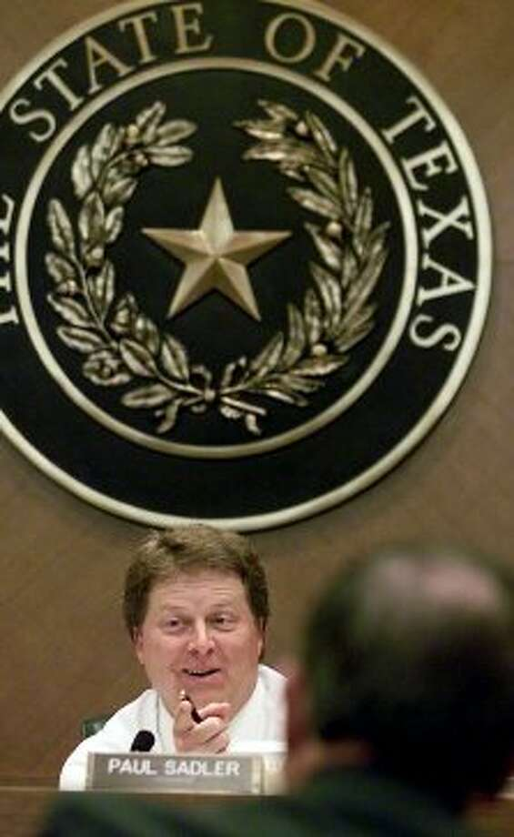 Rep. Paul Sadler, D-Henderson, listens to testimony at a House subcommittee meeting on teachers' health insurance at the Capitol in Austin, Texas, Monday, April 2, 2001. (DEBORAH CANNON / AP)
