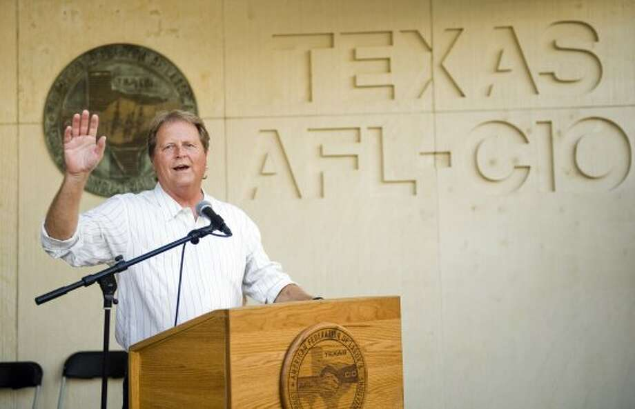 U.S. Senate candidate Paul Sadler (D) speaks to supporters during a fish fry at the American Federation of Labor - Congress of Industrial Organizations in Austin, TX on Fri., Aug. 31, 2012. (Ashley Landis / Houston Chronicle)