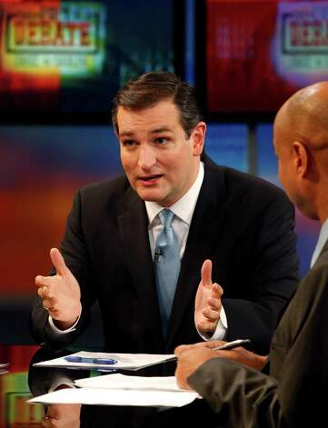 Republican U.S. Senate candidate Ted Cruz answers a question during a debate Tuesday, Oct. 2, 2012, in Dallas, as  moderator Gromer Jeffers Jr. of the Dallas Morning News listens. Photo: David Woo, Associated Press / The Dallas Morning News