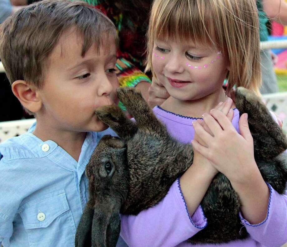 Three year-old Andres Carette kisses a bunny rabbit as four year-old Angelina Davis holds it close during National Night Out at Nellie Keyes Park in the Rice Military neighborhood in Houston, Texas, Tuesday October 2, 2012. Photo: Billy Smith II, Chronicle / © 2012 Houston Chronicle