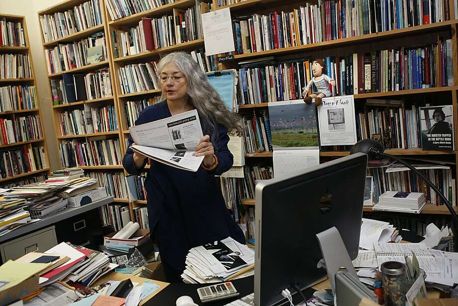 "Poetry Flash editor and publisher Joyce Jenkins, in her Berkeley office: ""We really tried to make it ... as all-encompassing as we could."" Photo: Liz Hafalia, The Chronicle"