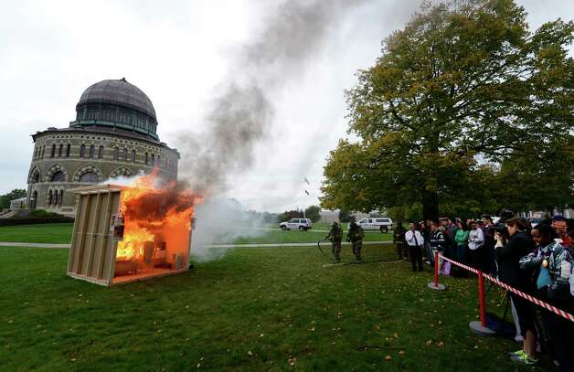 As part of Union College's annual safety day,  a mock dorm room was set afire in Schenectady, N.Y. Oct. 2, 2012.   Schenectady Fire Department, law enforcement and other agencies will joined Campus Safety, Health Services, Emergency Medical Services and other campus groups in providing information on fire and personal safety.    (Skip Dickstein/Times Union) Photo: Skip Dickstein