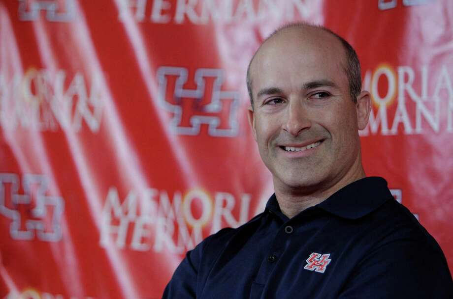 University of Houston interim head football coach Tony Levine during media conference in the Carl Lewis Auditorium of the UH Athletics Alumni Center Saturday, Dec. 10, 2011, in Houston. Former Houston Cougars head coach Kevin Sumlin left to become the head coach at Texas A&M. ( Melissa Phillip / Houston Chronicle ) Photo: Melissa Phillip / 2011 Houston Chronicle
