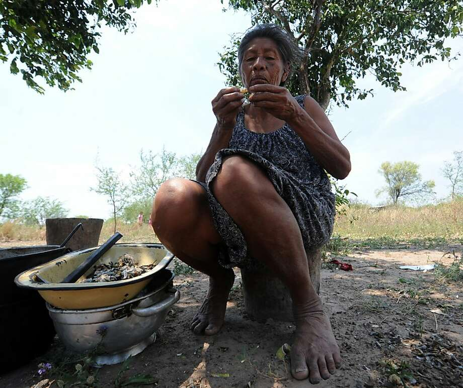 A Paraguayan native from the Comunidad Esperanza, in Chaco, 240 km north of Asuncion, eats fishes from a lake nearby while waiting for supplies from the UN World Food Programme (WFP) on October 2, 2012. About 1,800,000 kg of food were distributed among 59 communities --some 50,000 people-- in three localities of Chaco, stricken earlier this year by unusual floods. Photo: Norberto Duarte, AFP/Getty Images
