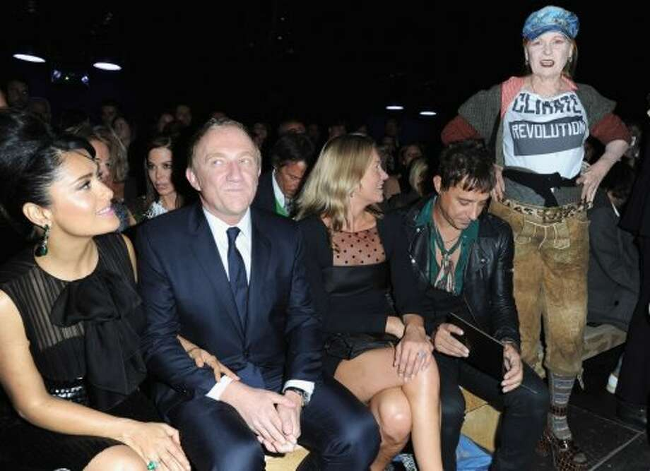 Salma Hayek, Francois Henri Pinault, Kate Moss, Jamie Hince and Vivienne Westwood attend the Saint Laurent Spring / Summer 2013 show as part of Paris Fashion Week on October 1, 2012 in Paris, France.  (Pascal Le Segretain/Getty Images)