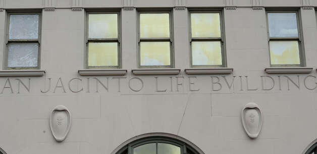 "The ""V"" came from this lettering over the front entrance of the San Jacinto building in downtown Beaumont.   The V is in place of the U in the word ""building.""  Dave Ryan/The Enterprise"