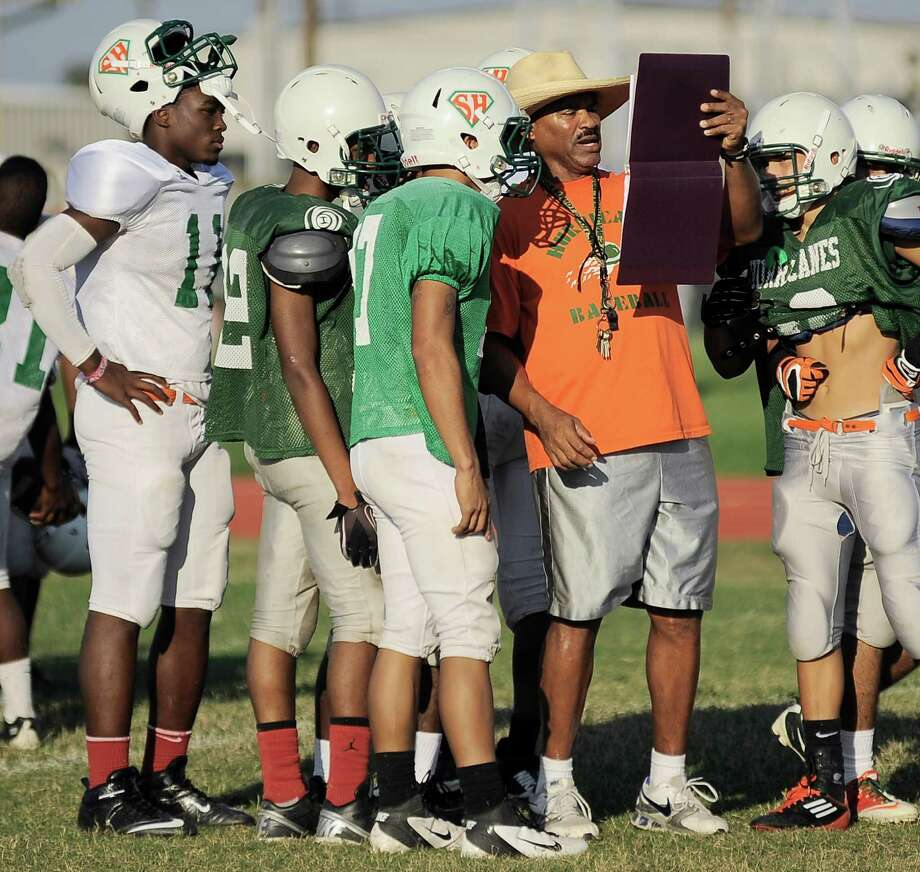 Sam Houston coach Gary Green remains positive despite his Hurricanes' 0-5 start this season. Last year, Green had nine players sign college scholarships off a playoff team. Photo: Darren Abate, Darren Abate/For The Express-New