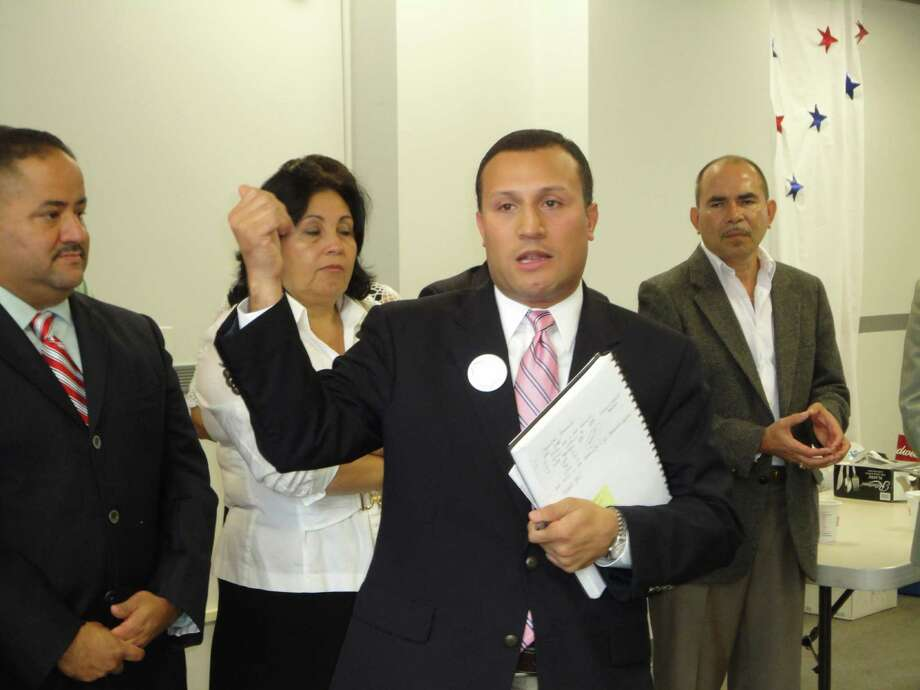 Norwalk Councilman Warren Pena, depcited here, and the Norwalk Democratic Committee hosted the Lower FFLD County Latino Delegation last Saturday to endorse Congressman Jim Himes, Congressman Chris Murphy and state rep. Andres Ayala Jr. at the Democratic Headquarters on Main Street in South Norwalk. Photo: Meg Barone