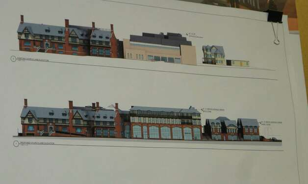 Architectural drawings of the proposed Bedford Square project proposed for the downtown site of the Westport Weston Family Y were scrutinized Tuesday night by the Historic District Commission/Architectural Review Board Joint Committee. Photo: Meg Barone / Westport News freelance