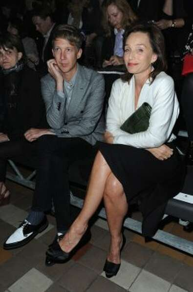 Journalist Jefferson Hack and actress Kristin Scott Thomas attends the Lanvin Spring / Summer 2013 s