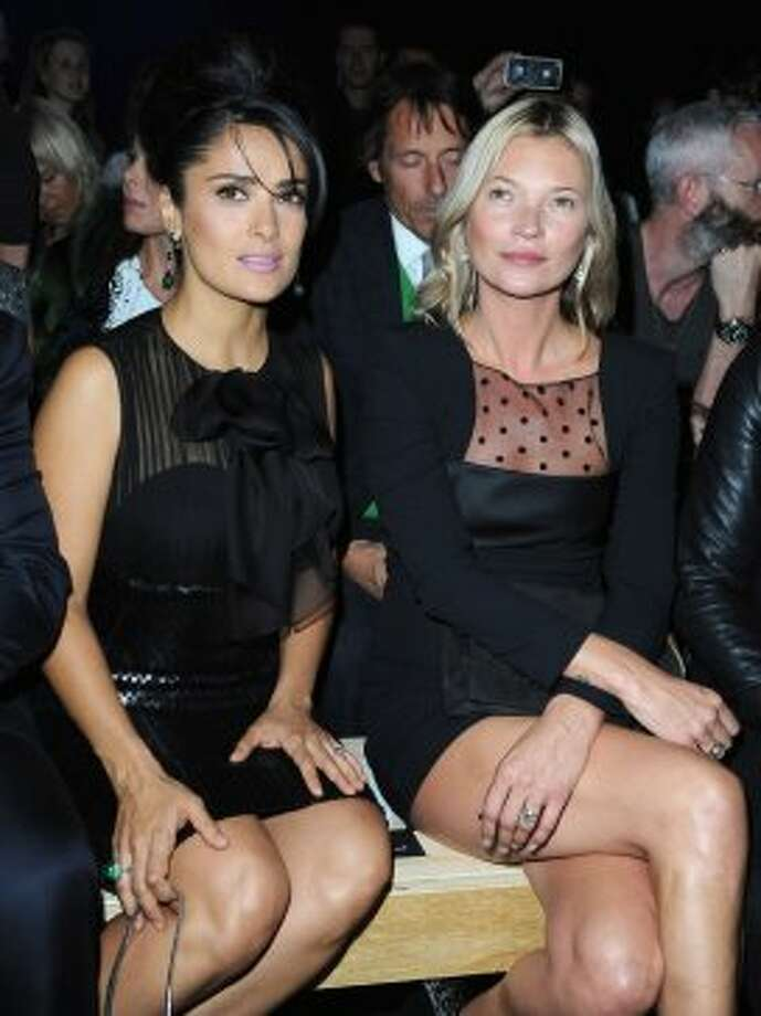 Salma Hayek and Kate Moss  and attends the Saint Laurent Spring / Summer 2013 show as part of Paris Fashion Week on October 1, 2012 in Paris, France.  (Pascal Le Segretain/Getty Images)