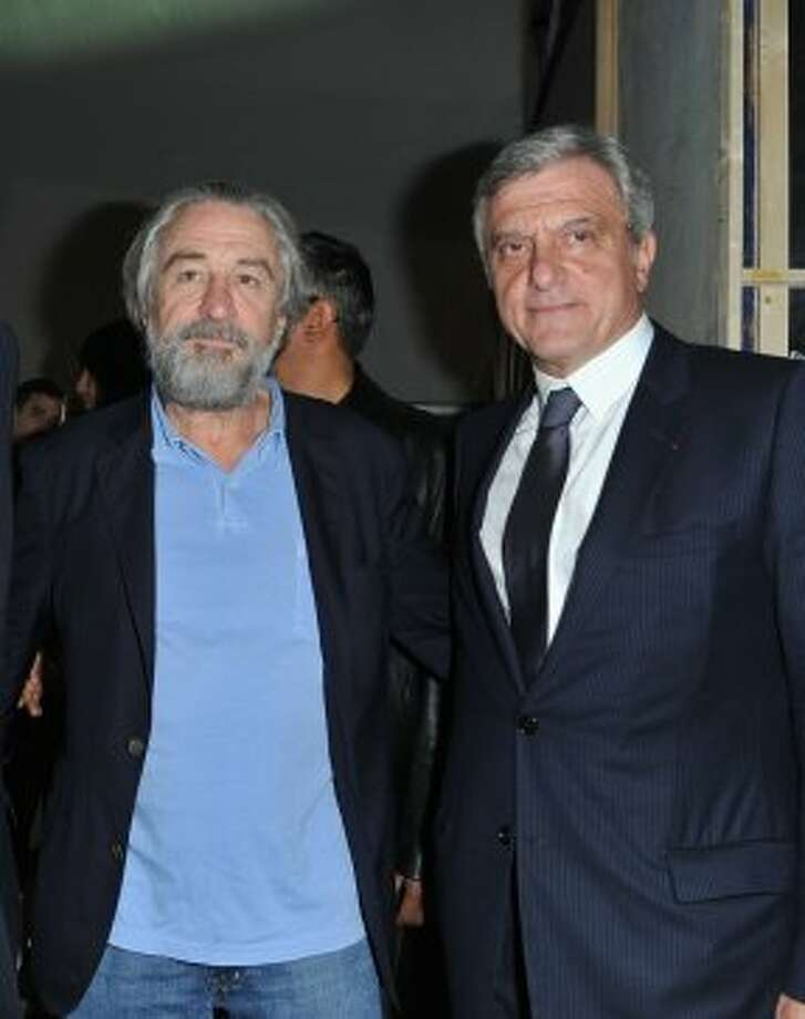Robert De Niro (L) and Dior exec Sidney Toledano (R) backstage during the Christian Dior Spring / Summer 2013 show as part of Paris Fashion Week on September 28, 2012 in Paris, France.  (Pascal Le Segretain/Getty Image)