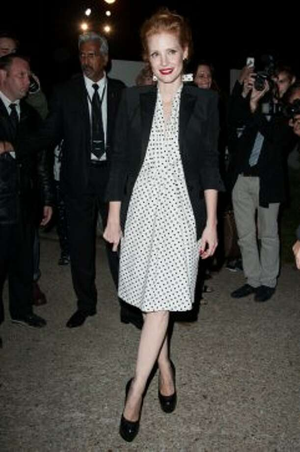 Actress Jessica Chastain arrives at the Saint Laurent Spring / Summer 2013 show as part of Paris Fashion Week on October 1, 2012 in Paris, France.  (Francois Durand/Getty Images)