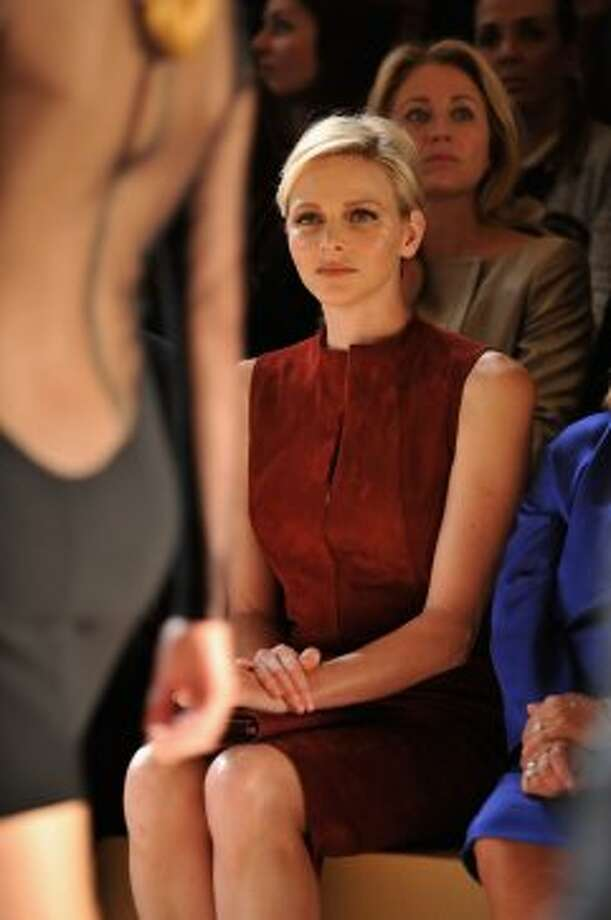 Princess Charlene of Monaco watches the Akris Spring / Summer 2013 show as part of Paris Fashion Week at Palais de Chaillot on September 30, 2012 in Paris, France.  (Pascal Le Segretain/Getty Images)