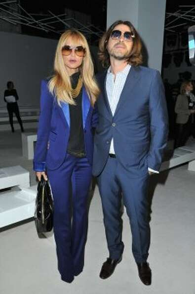 Rachel Zoe and husband Rodger Berman (L) attend the Giambattista Valli Spring / Summer 2013 show as