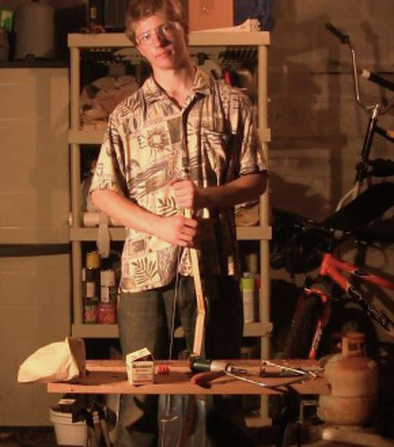 Michael Colley, a 17-year-old Westport resident, was a Blue Ribbon winner at the recent World Maker Faire in New York City for making a bow for $20. Photo: Makerfaire.com / Westport News contributed