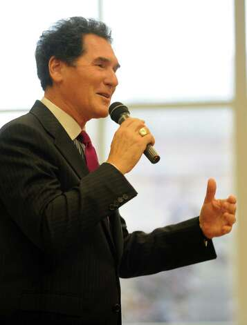"News anchor Ernie Anastos speaks during ""Civility in the Media,"" the second installment of the mayor's civility series at the Ferguson Library in Stamford on Wednesday, October 3, 2012. Photo: Lindsay Niegelberg / Stamford Advocate"