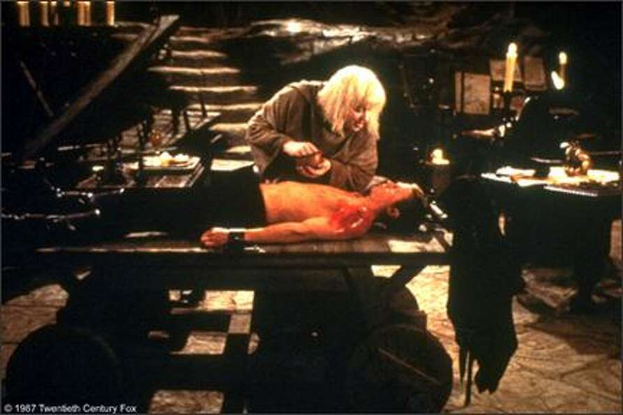 "Mel Smith, as the albino, tending to Westley in the Pit of Dispair. His best line – ""The Prince"