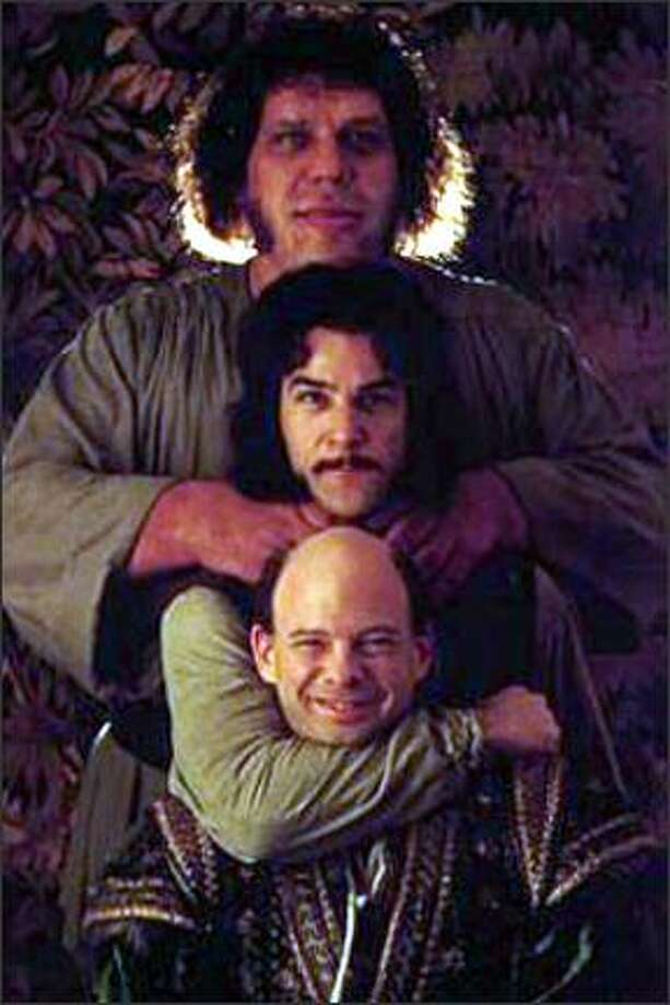 "Wallace Shawn, pictured below Andre the Giant and Mandy Patinkin, played the failing mastermind Vizzini. His line to remember – ""Inconceivable!"" (Studio photo) Photo: -"