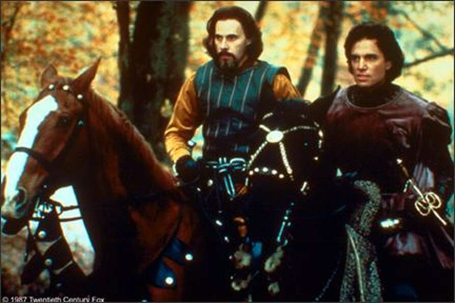Christopher Guest, on the left as Count Tyrone Rugen, and Chris Sarandon as Prince Humperdinck. Here