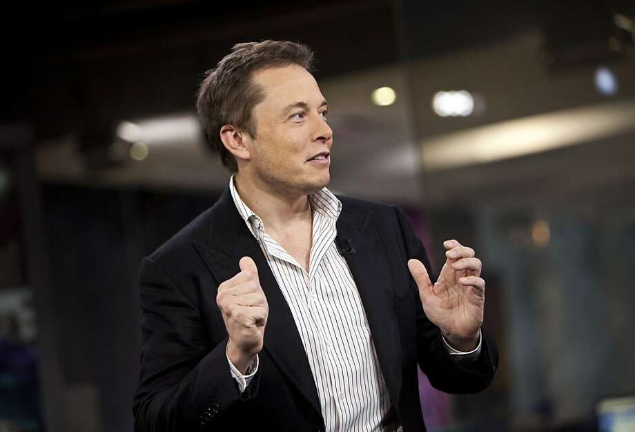 Elon Musk, co-founder and chief executive officer of Tesla Motors Inc., speaks during a Bloomberg Television interview in New York, U.S., on Friday, Sept. 21, 2012. Musk declined to confirm that the electric-car maker will be able to meet its initial delivery target for Model S sedans this year. Photographer: Ramin Talaie/Bloomberg *** Local Caption *** Elon Musk Photo: Ramin Talaie, Bloomberg