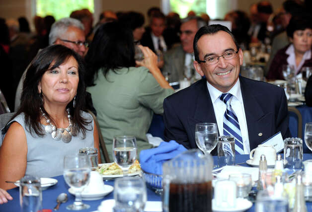 Ray Boa, right, with his wife, Zulmira, was named the Constantine S. Macricostas Entrepreneur of the Year by Western Connecticut State University, at a luncheon at the Amber Room Colonnade Wednesday, Oct. 3, 2012. Photo: Carol Kaliff