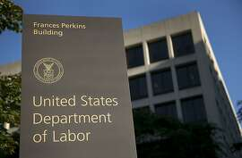 The U.S. Department of Labor headquarters stands in Washington, D.C., U.S., on Tuesday, Sept. 11, 2012. The U.S. Department of Labor is scheduled to release initial jobless claims figures on Sept. 13. Photographer: Andrew Harrer/Bloomberg