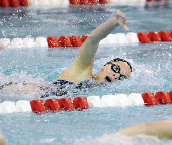 Courtney Ferreira of Darien High School swims the 200 freestyle event in the girls high school swim meet between Greenwich High School and Darien High School at Greenwich, Wednesday afternoon, Oct. 3, 2012. Photo: Bob Luckey / Greenwich Time