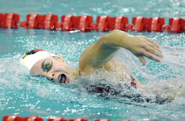 Kim Hill of Greenwich High School swims the 200 freestyle event during the girls high school swim meet between Greenwich High School and Darien High School at Greenwich, Wednesday afternoon, Oct. 3, 2012. Photo: Bob Luckey / Greenwich Time