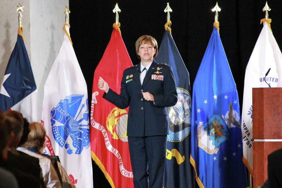 Maj. Gen. Suzanne Vautrinot, the Commander of the 24th Air Force, Air Forces Cyber and the Air Force Network Operations at Lackland AFB, spoke at USAA as part of its month-long observation of Cyber Security Awareness Month. Photo: Jim Norman, Courtesy Photo