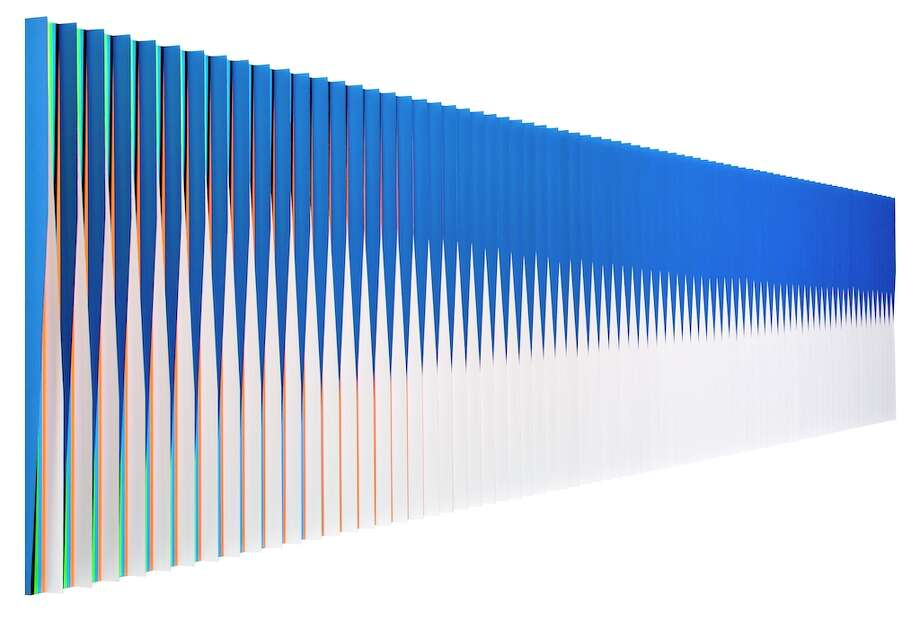 "From a side angle, Carlos Cruz-Diez's ""Physichromie Panam 94"" looks blue and white. From the front, it's a different story. It's on view at Sicardi Gallery through Nov. 3. Photo: Sicardi Gallery"