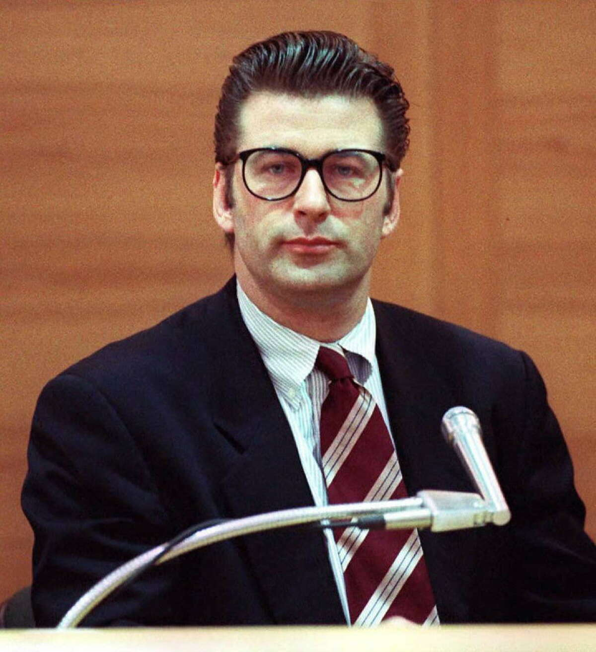 Alec Baldwin in some hipster glasses back in 1996, when he took the stand at his misdemeanor assault trial in California. Baldwin, accused of hitting a photographer, was acquitted.