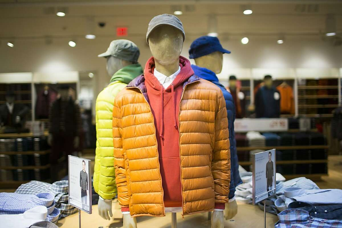 Mannequins showcasing Uniqlo's lightweight packable down jacket at the Japanese apparel retailer's first West Coast flagship store on Powell St. in San Francisco, Calif. on Wednesday, Oct. 3, 2012.