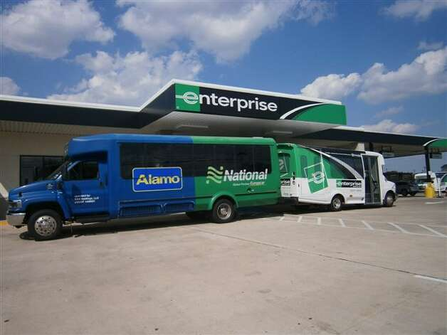These shuttles for Enterprise Rent-A-Car, National Car Rental and Alamo Rent A Car at Hobby Airport use renewable synthetic diesel.